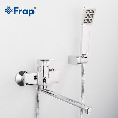 Bathtub Shower Faucet with 345mm Outlet pipe bathroom faucets water mixer tap with Square hand shower head F2246