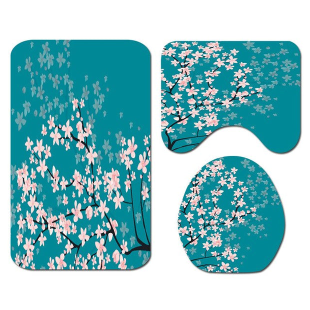 Cherry Blossoms Print Fabric Shower Curtains Bathroom Curtain Set Flower Anti-skid Rugs Carpet Toilet Lid Cover Bath Mat Sets