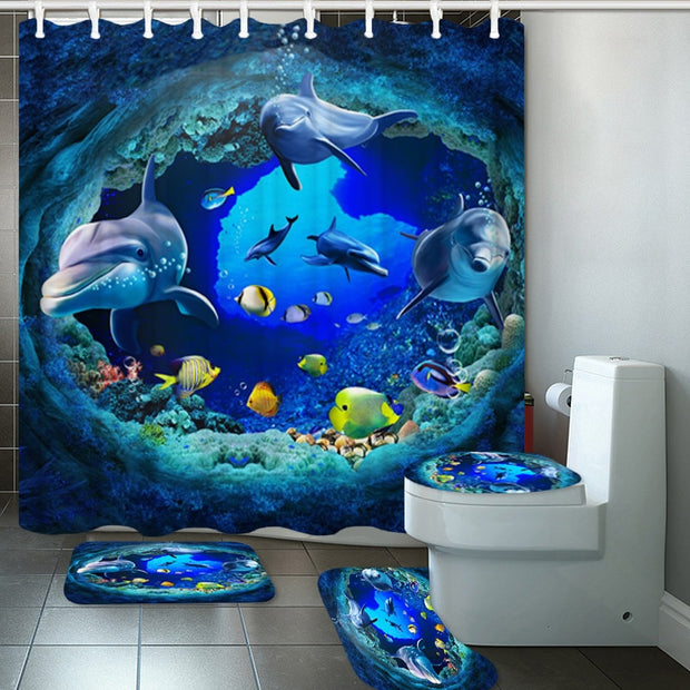 180*180 3D Ocean Dolphin Deep Sea Polyester Shower Curtain Bathroom Curtains Pedestal Rug Lid Toilet Cover Bath Mat Set