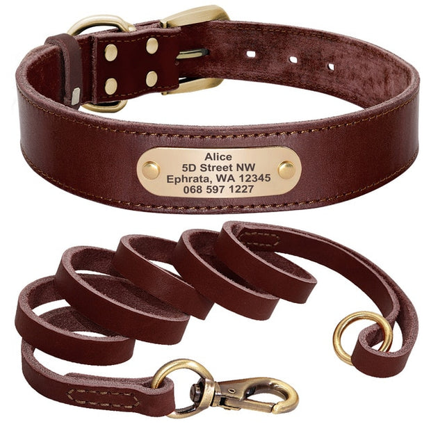 Custom Leather Dog Collar Leash Set Personalized Pet Collar Leash Free Engraved Nameplate For Small Medium Large Dogs