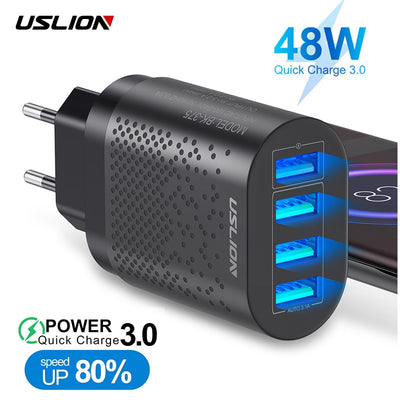48W 4 Ports LED 3A Quick USB Charger For iPhone Micro Type C QC3.0 Fast Wall Charger For Samsung Mobile Phone Charger