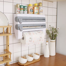 Load image into Gallery viewer, Wall-Mount Paper Towel Holder Sauce Bottle Storage Rack 4 In 1 Plastic Film Cutter Mutifunction Kitchen Organizer