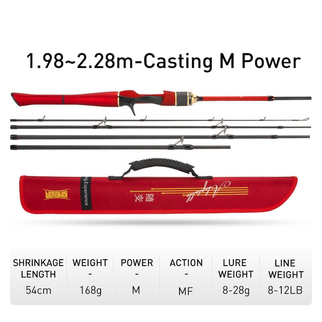 Kingdom ADAPTABLE Spinning Fishing Rods 4+1 Section 1.8m/2.1m 1.98m/2.28m Multi-section Feeder rods Casting Fishing Travel Rod
