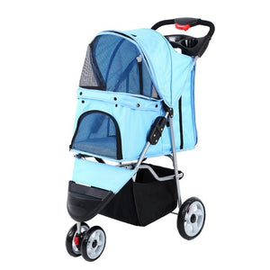 Pet Stroller Cart Puppy Dog Cat Travel Foldable 3 wheels Trolley Pet Outdoor Jogger Pushchair