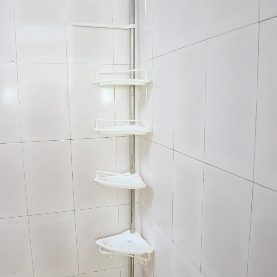 4-Tier Height 63in-118in Adjustable Telescopic Shower Shelf Bathroom Corner Rack Shampoo Soap Toothbrush Storage Organizer Shelf