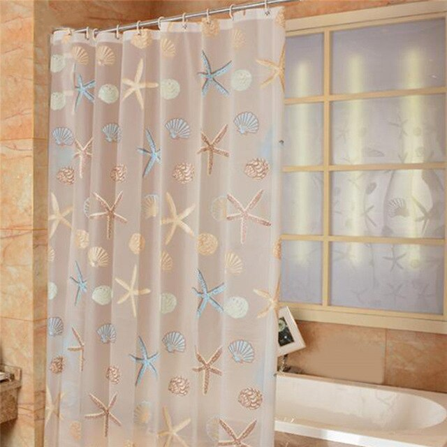 Modern Shower Curtain Starfish Partition Fresh Seaside Style Waterproof Mildew PEVA Curtain For Bathroom Shower Room