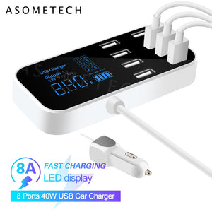 8 Ports USB Car Charger QC3.0 Fast Charging Phone Charger 40W 2.4A Multi USB Socket with LED Display for iPhone Android Samsung