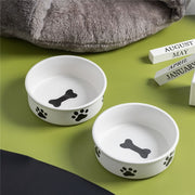 Ceramic Bowl Pet Utensils Cartoon Paw Print Water Bowls Dog Bowl Ceramic Eating Drinking Bowl Cat Dog Feeders
