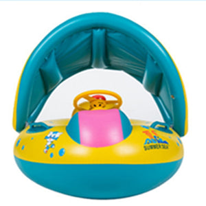 Kids Baby Swimming Gear Safe Inflatable Toy Infant Yacht Water Fun Toy for Baby Adjustable Sunshade Seat Float Boat Toy