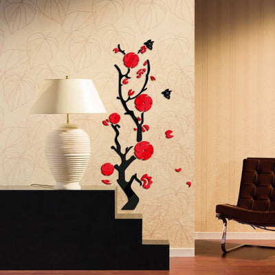 the new wall stickers acrylic mirror plant flower diy sticker modern family decor 3d sticker living room wall art