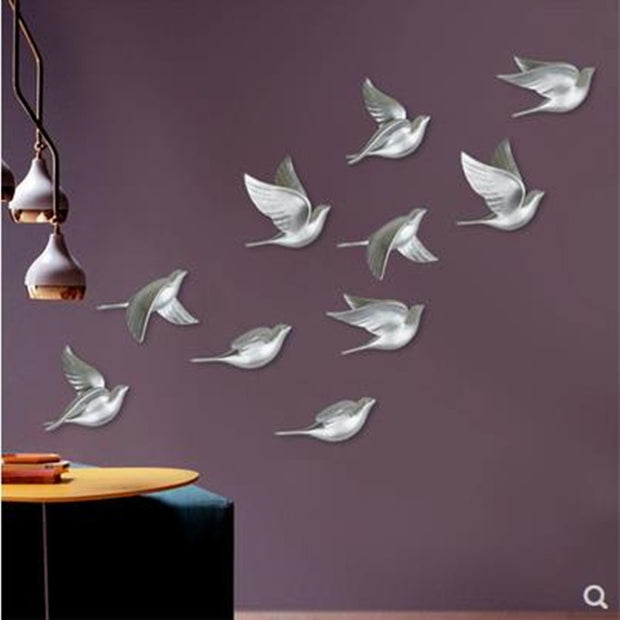 Three-dimensional wall stickers, beautiful birds, home decoration products, resin bird crafts