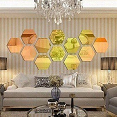 12Pc/Set Europe 3D Hexagon Acrylic Mirror Wall Stickers Living Room Decoration Product  Mirrored Sticker DIY Wall Decor
