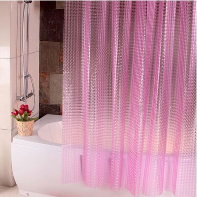 3D crystal Thicker Shower curtains EVA translucent plastic bathroom curtains waterproof pink Bath curtain free shipping