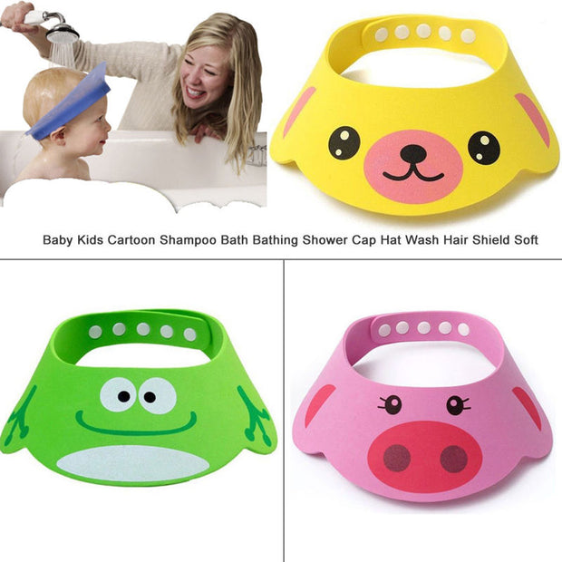 Baby Shampoo Cap Kids Cartoon Shampoo Bath Bathing Shower Cap Wash Hair Shield Soft Security Shower Product Bath Supplies