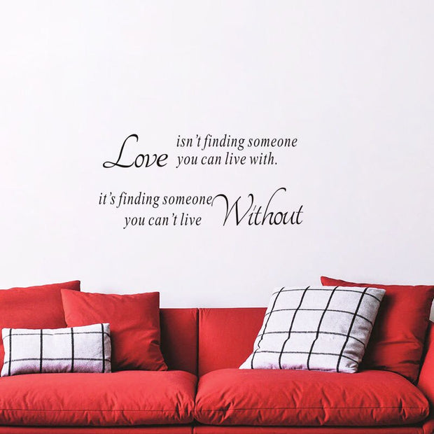 Wall Stickers Quote Love Isn't Finding Someone You Can Live With Vinyl Walls Ornaments Wallpaper Household Products