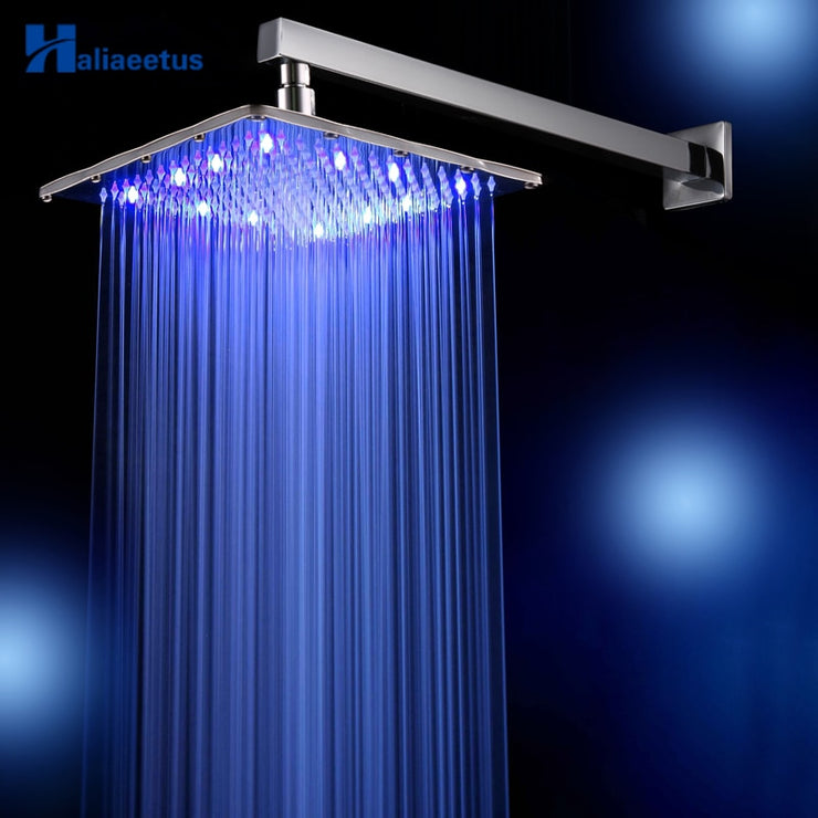 12 inch 3 Colors changing square rainfall shower head. Wall Mounted head shower include shower arm