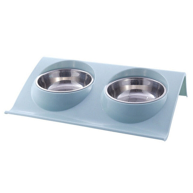 Hot Pet Products Stainless Steel Pet Bowl Cat Dog Puppy Travel Feeding Feeder Pet Feeding Tool Dog Food Double Bowl Tableware