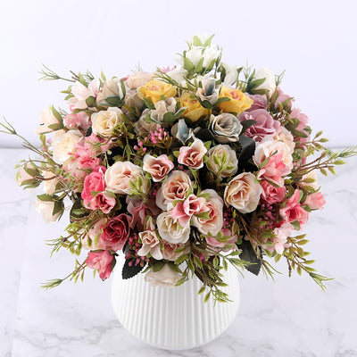 fake roses artificial flowers high quality bouquet hydrangea gypsophila leaf accessories for christmas home wedding decoration