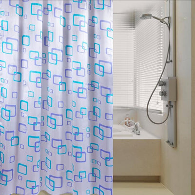 1Pc Polyester Waterproof Fabric Random Pattern & Hooks Bathroom Shower Curtain