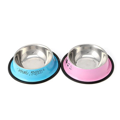 Arrival Pet Product For Dog Cat Bowl Stainless Steel Anti-skid Pet Dog Cat Food Water Bowl Pet Feeding Bowls Tool 2 Colors