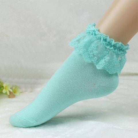 White or Blue Lace Top Ruffle Ankle Socks