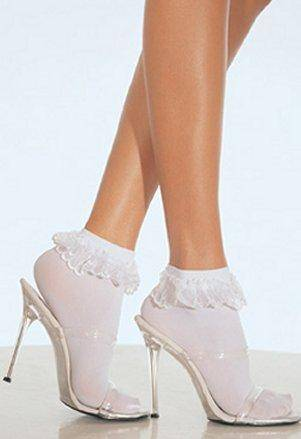 Lace Top Sheer Nylon Ankle Socks White Black or Pink