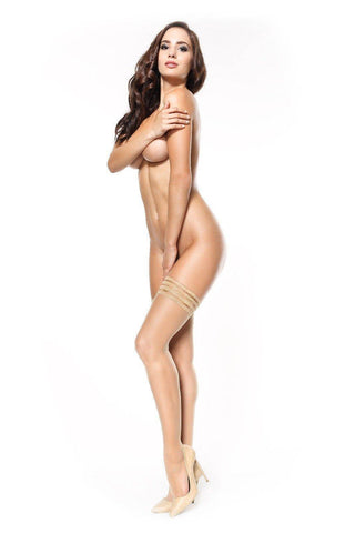 Image of ABSOLUTELY STUNNING Black or Nude Silky Feel 15 Denier Silicone Strips Hold-Ups Sml/Med