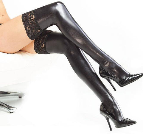 Image of Pair of Black Faux Leather Stockings with Hold up Lace