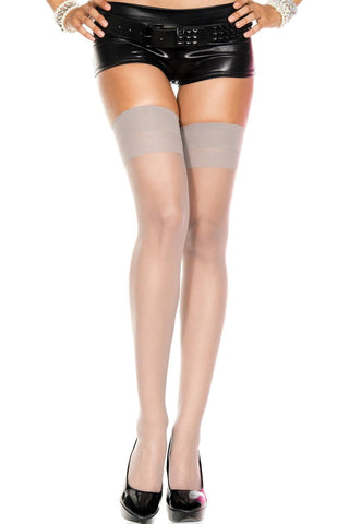 BE FABULOUS! Sheer Plain Top Elasticated Thigh Hi Nylon Stockings Black White Red Nude Grey