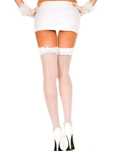 Image of Black, White or Red Hold Up Lace Ruffle Top Sheer Back Seam Stockings