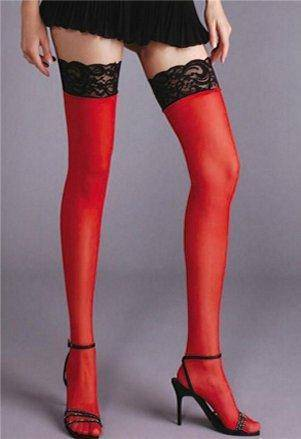 Lace Top 2 Tone Thigh Hi Stockings in a Choice of Colours