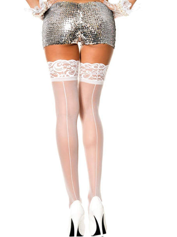 Lace Top Back Seamed Thigh Hi Nylon Stockings