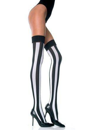 Designer Styled Thigh Hi Pink White or Red Black Vertical Stripe Stockings