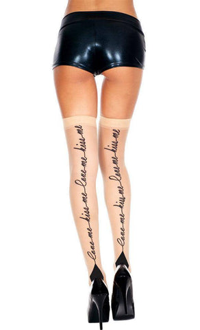 "Black ""Love Me Kiss Me"" Nude Cuban Heel Stockings"