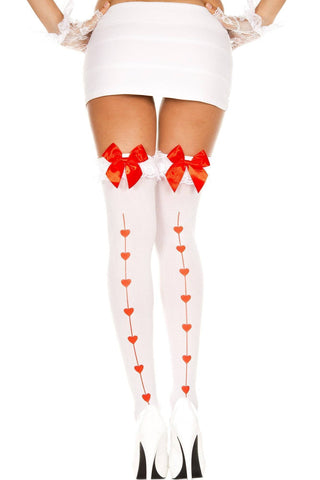 White Red Heart Seam Ruffle Lace Top with Bow Opaque Thigh Hi Sexy Stockings