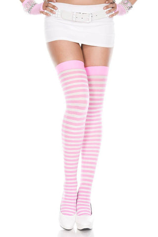 Black Fuchsia Red Blue or Neon Pink + White Stripes Thigh Hi Opaque Stockings Regular