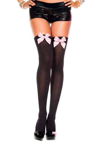Baby Pink or Neon Pink Satin Bows Black Opaque Thigh Hi Stockings