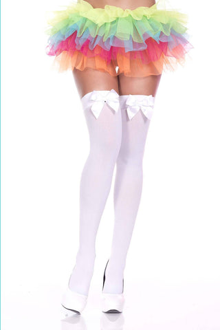 Opaque All Black or All White Big Satin Bow Thigh Hi Stockings