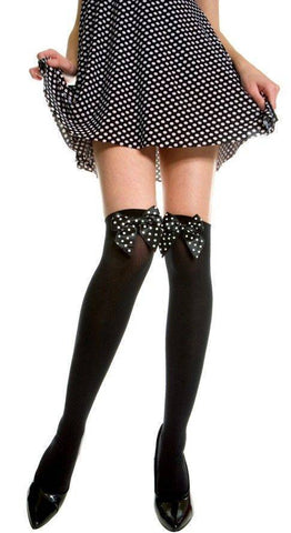 Black Opaque Stockings + Black Bows with White Polka Dots