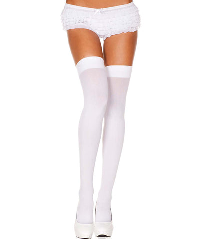 Neon Pink Yellow Purple Orange Black White Blue Opaque Thigh Hi Stockings
