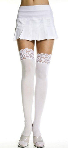 Image of Opaque White or Black Wide Lace Top Stockings