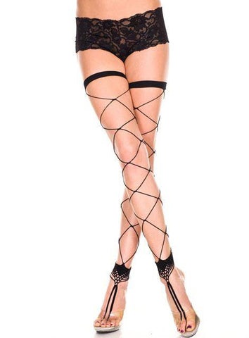 Black Big Diamond Net Footless Thigh Hi Stockings