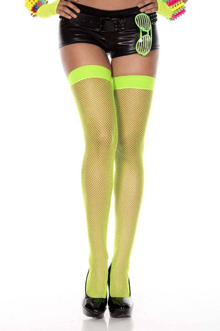 Thigh Hi Fishnet Stockings Plain Top - Black White Red Purple Neon Pink or Green