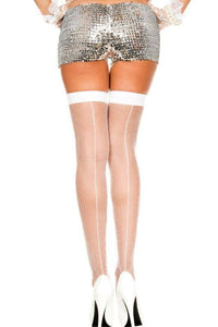 Plain Top Black or White Seamed Thigh Hi Fishnet Stockings