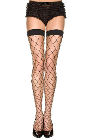 Black Plain Elastic Top Diamond Net Lycra Thigh Hi Stockings