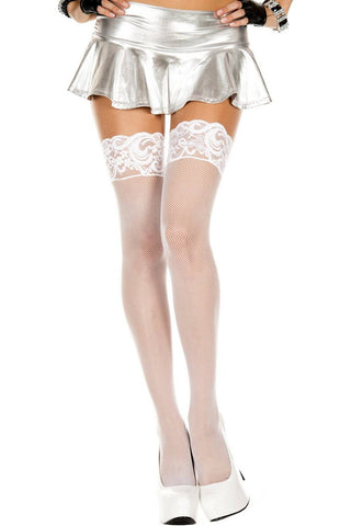 Black White Nude Fishnet Lace Top Silicone Hold-Ups Thigh Hi