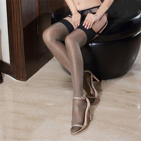 Black Top Nude Purple Tan Red Blue or White Shimmery Glossy Stockings