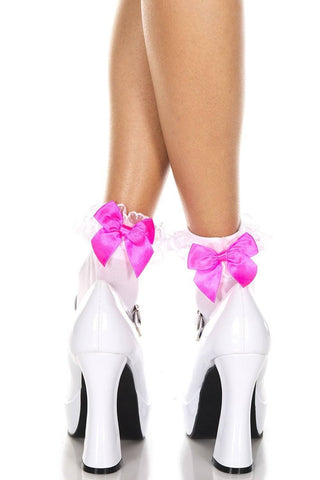 Pink Satin Bow White Opaque Ruffle Lace Trim Ankle Socks