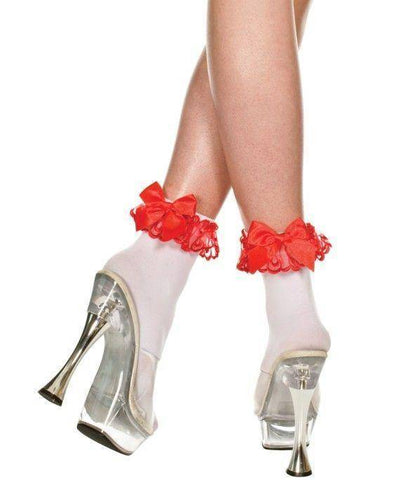 White Opaque Red Ruffle Lace Trim + Red Satin Bow Socks