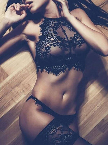 The Eyelash Set Lace Design Top + Briefs Black